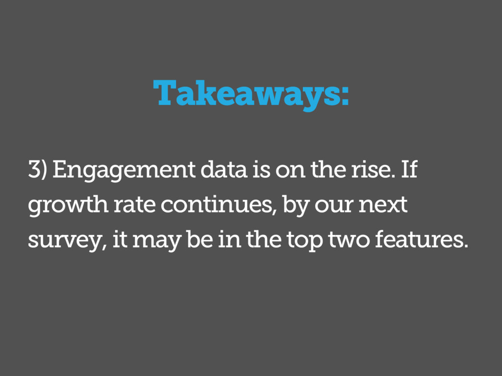 Takeaways: 3) Engagement data is on the rise. I...