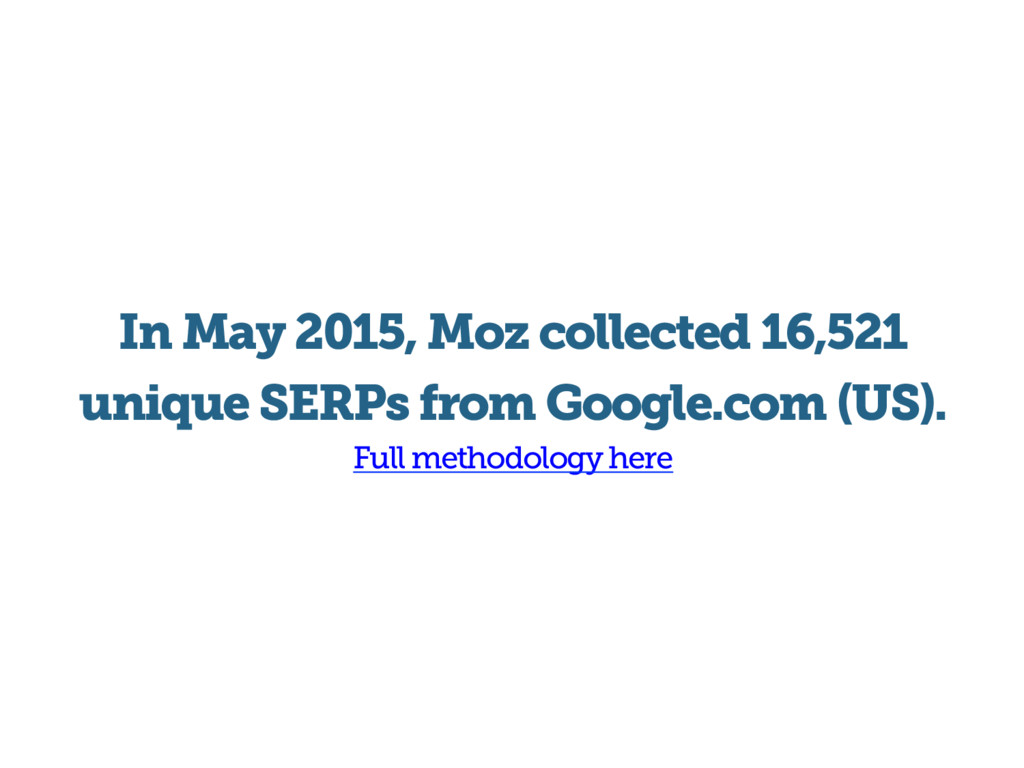 In May 2015, Moz collected 16,521 unique SERPs ...