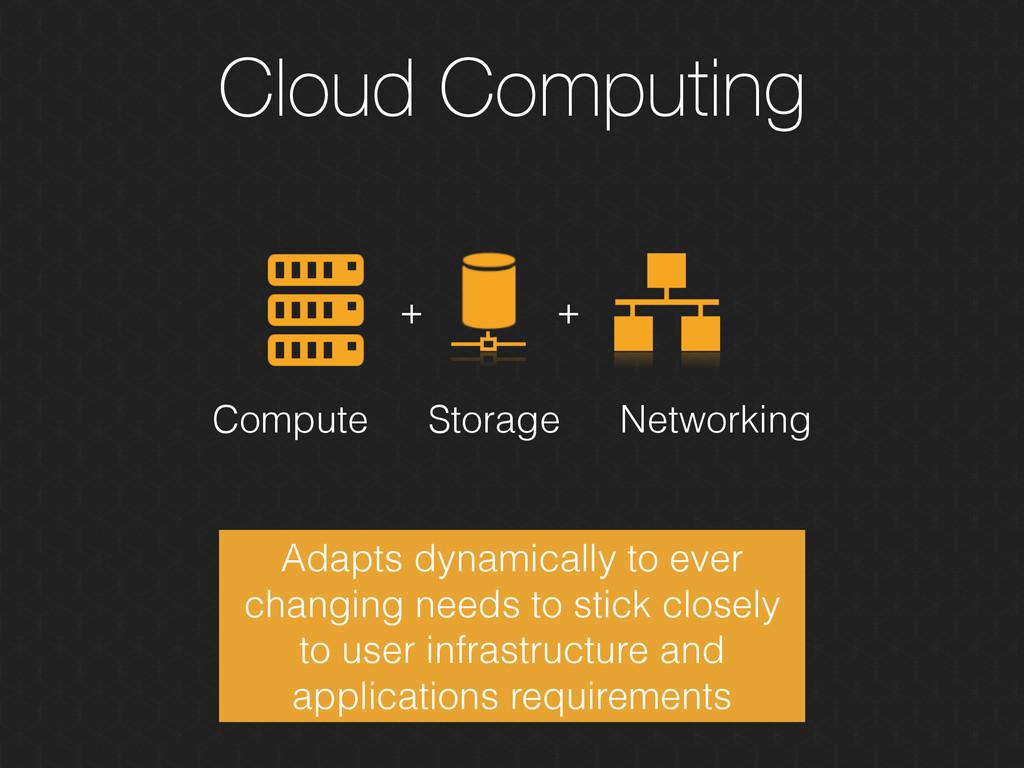 Cloud Computing + + Storage Compute Networking ...