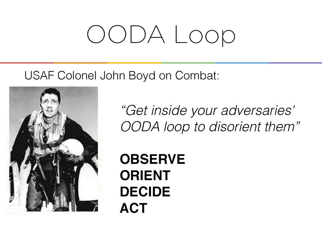"""Enabling the OODA Loop ! ! """"Get inside your adv..."""