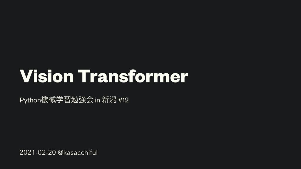 Vision Transformer Pythonػցֶशษڧձ in ৽ׁ #12 2021...