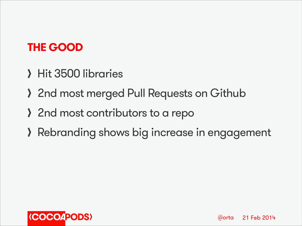 21 Feb 2014 @orta THE GOOD Hit 3500 libraries 2...
