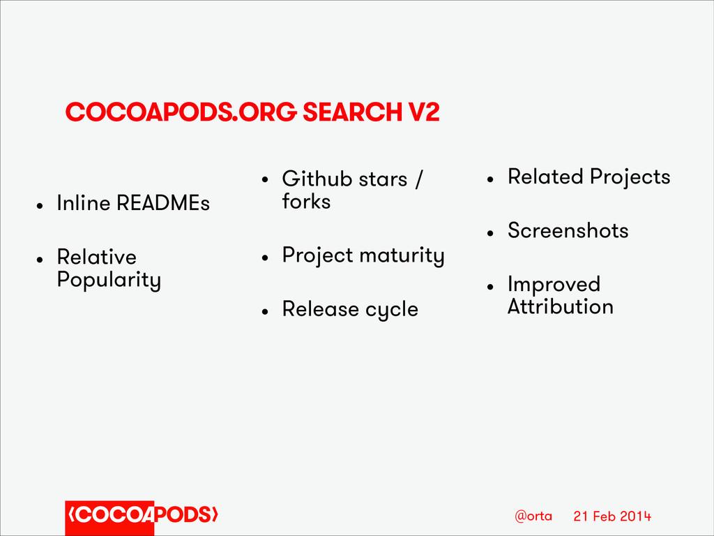 21 Feb 2014 @orta COCOAPODS.ORG SEARCH V2 • Inl...