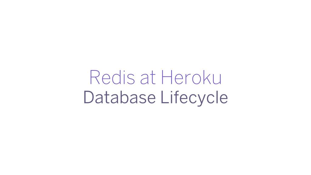 Redis at Heroku Database Lifecycle