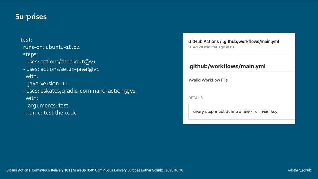 Surprises @lothar_schulz GitHub Actions Continu...