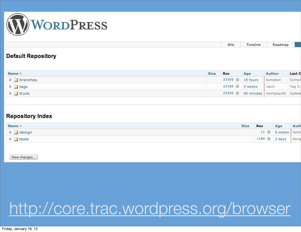 http://core.trac.wordpress.org/browser Friday, ...