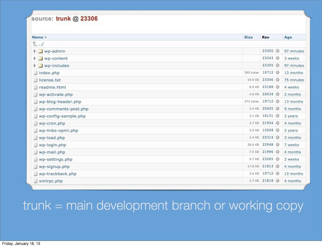 trunk = main development branch or working copy...