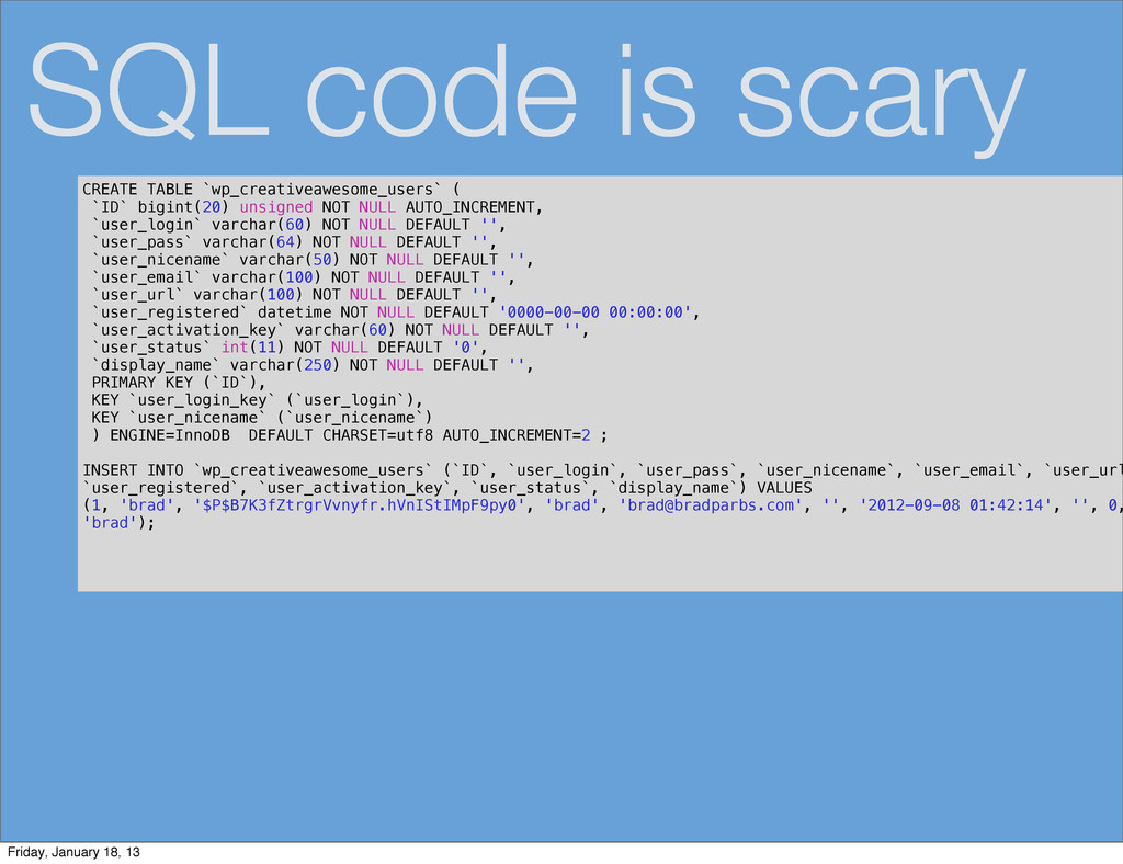 SQL code is scary CREATE TABLE `wp_creativeawes...