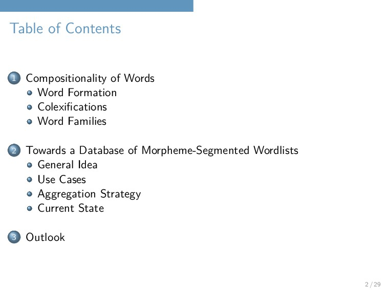 Table of Contents 1 Compositionality of Words W...