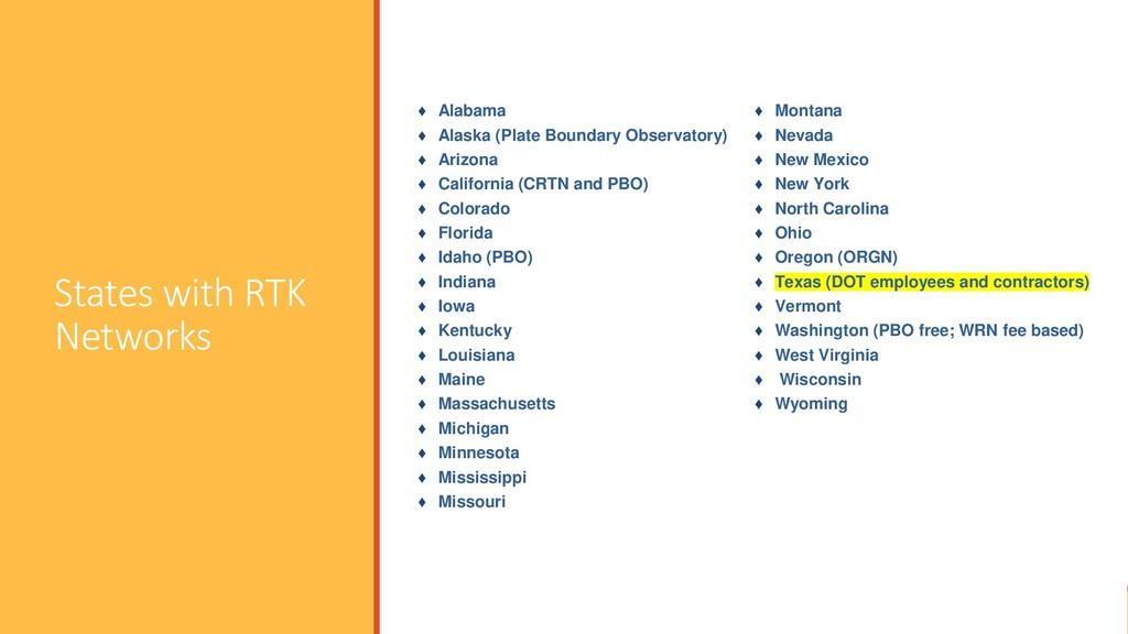 States with RTK Networks ♦ Alabama ♦ Alaska (Pl...