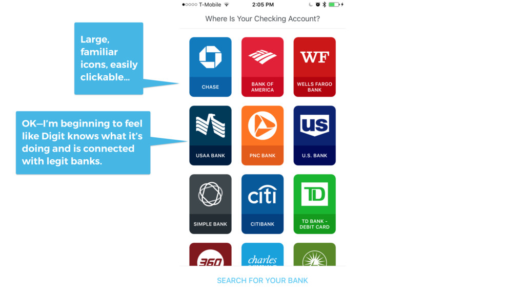 Large, familiar icons, easily clickable… OK—I'm...