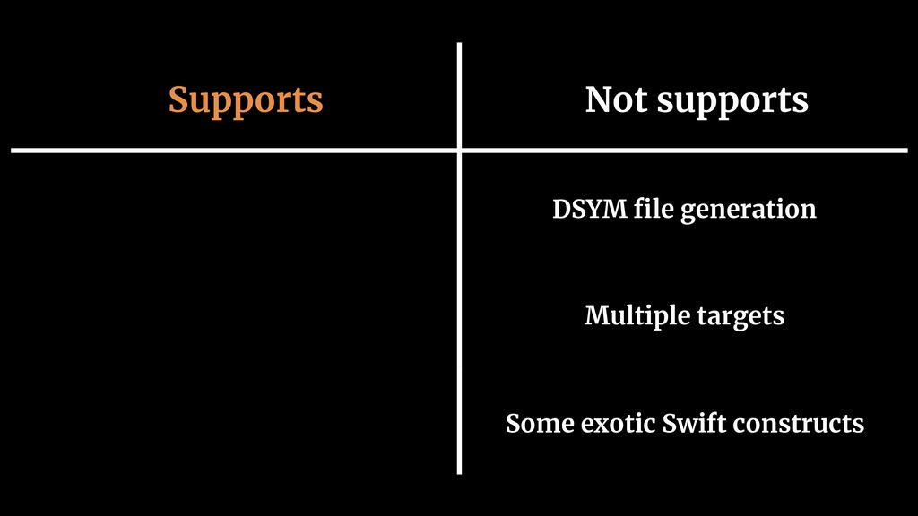 Supports Not supports DSYM file generation Multi...