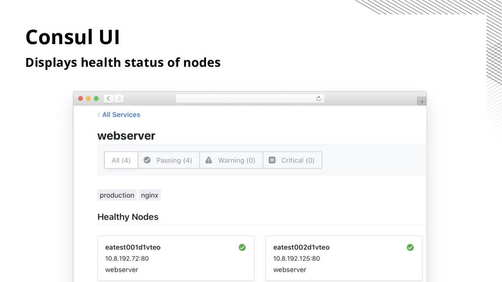 Consul UI Displays health status of nodes