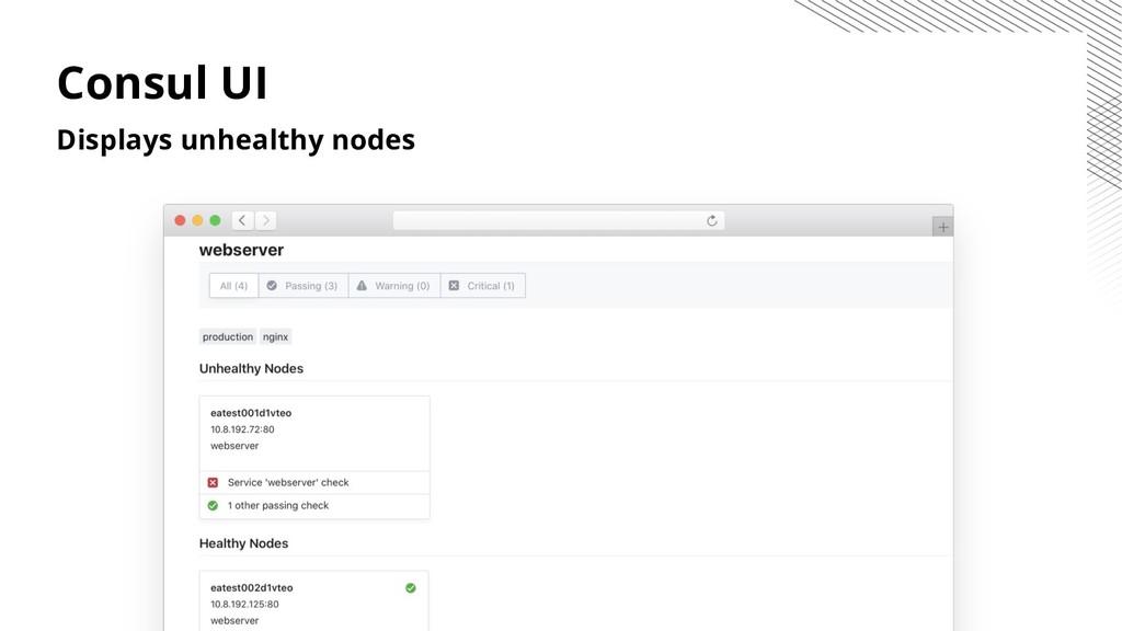 Consul UI Displays unhealthy nodes