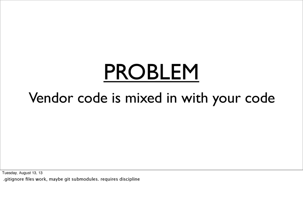 PROBLEM Vendor code is mixed in with your code ...