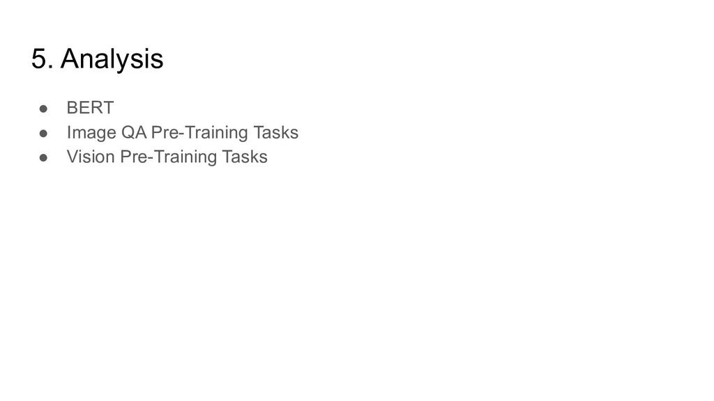 5. Analysis ● BERT ● Image QA Pre-Training Task...