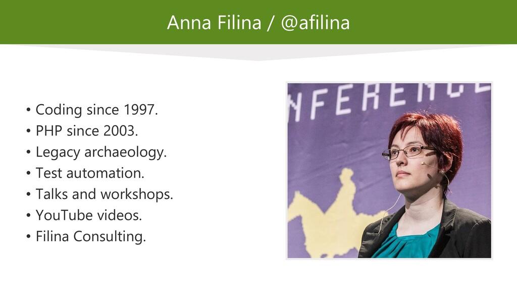Anna Filina / @afilina • Coding since 1997. • P...