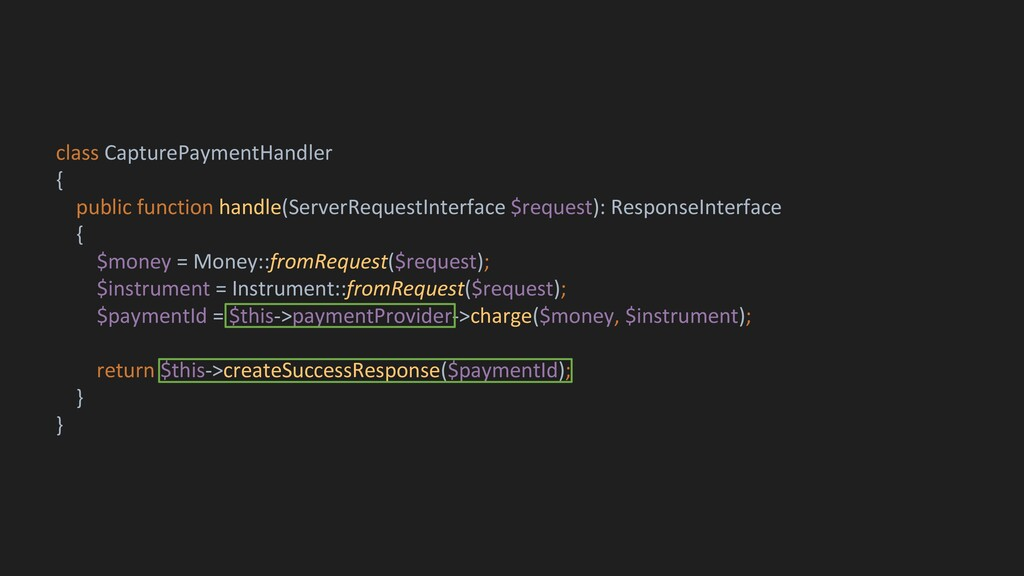 class CapturePaymentHandler { public function h...