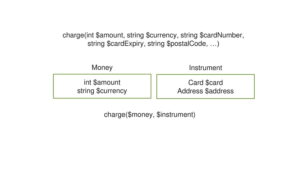 charge($money, $instrument) Money int $amount s...