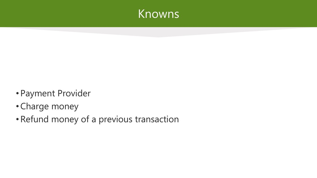 Knowns • Payment Provider • Charge money • Refu...