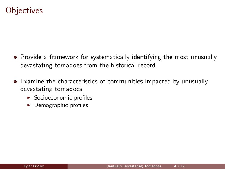 Objectives Provide a framework for systematical...