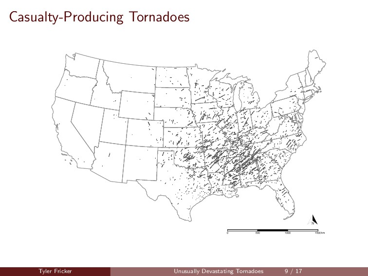 Casualty-Producing Tornadoes 0 500 1000 1500 km...