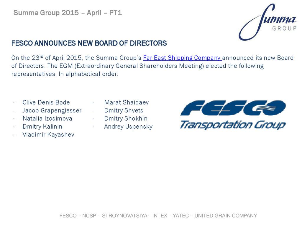 FESCO ANNOUNCES NEW BOARD OF DIRECTORS On the 2...