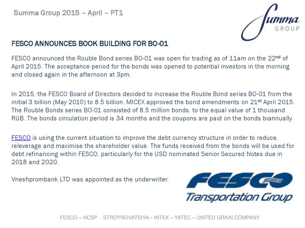 FESCO ANNOUNCES BOOK BUILDING FOR BO-01 FESCO a...