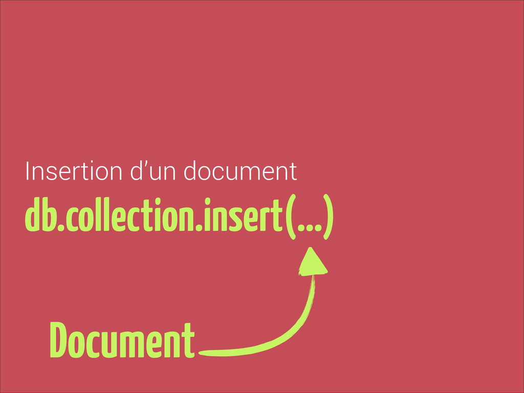 Insertion d'un document db.collection.insert(…)...