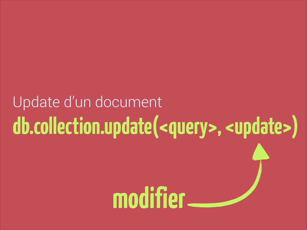 Update d'un document db.collection.update(<quer...