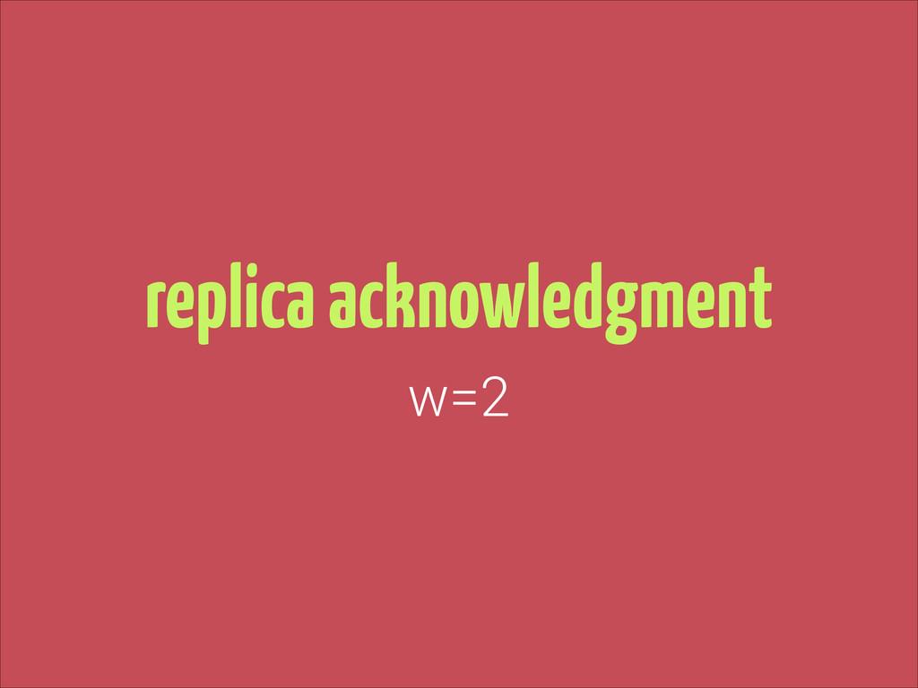 replica acknowledgment w=2