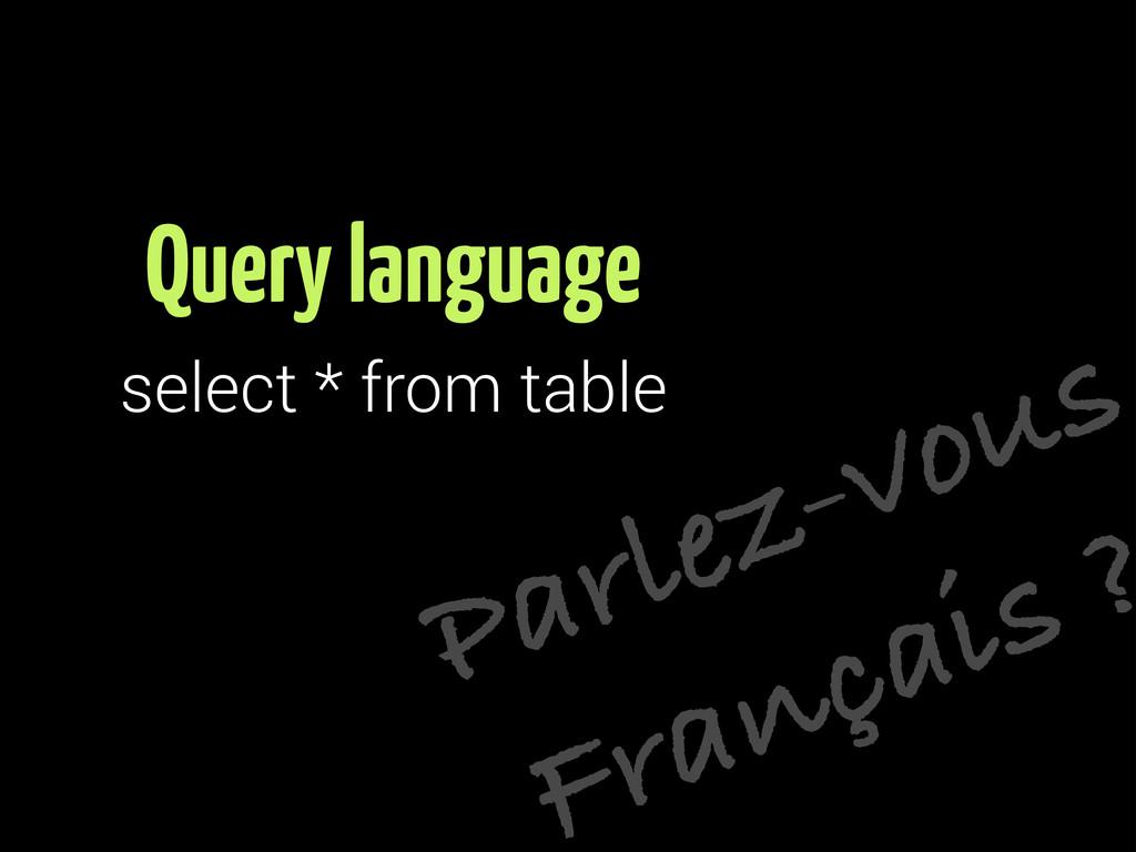 Parlez-vous Français ? Query language select * ...