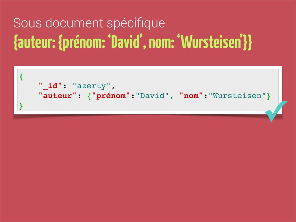 Sous document spécifique {auteur: {prénom: 'Davi...
