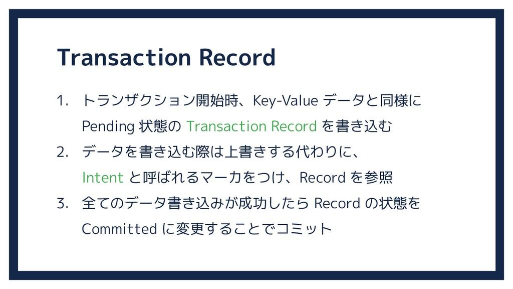 Transaction Record 1. トランザクション開始時、Key-Value データ...