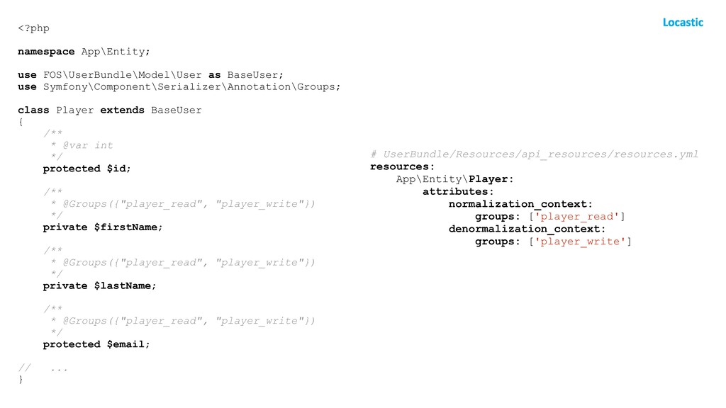 <?php namespace App\Entity; use FOS\UserBundle\...
