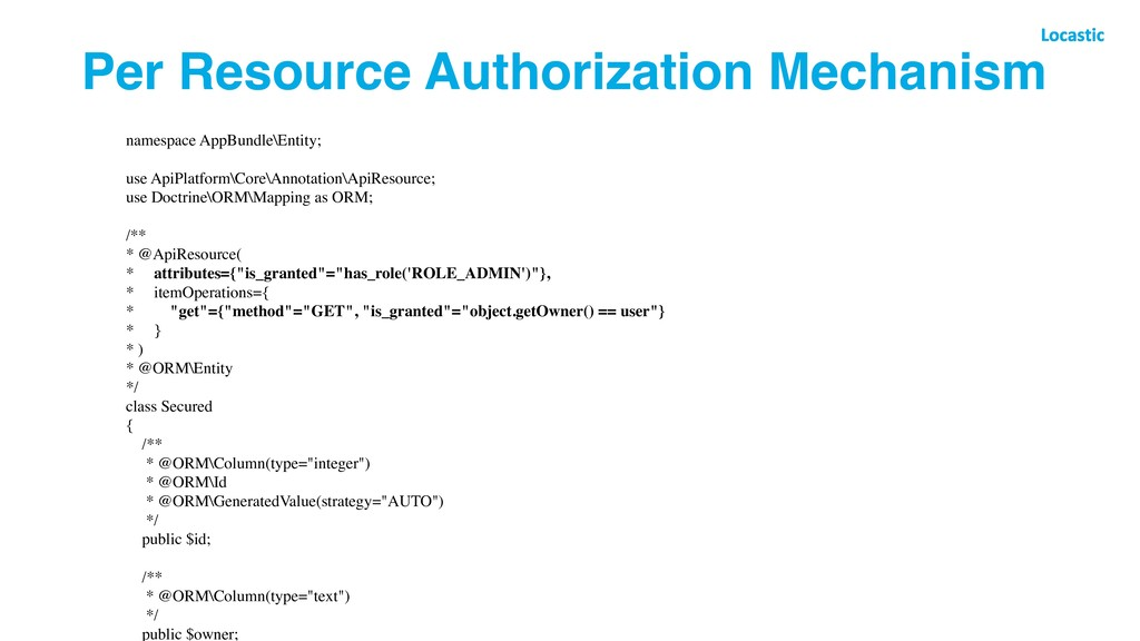 Per Resource Authorization Mechanism namespace ...