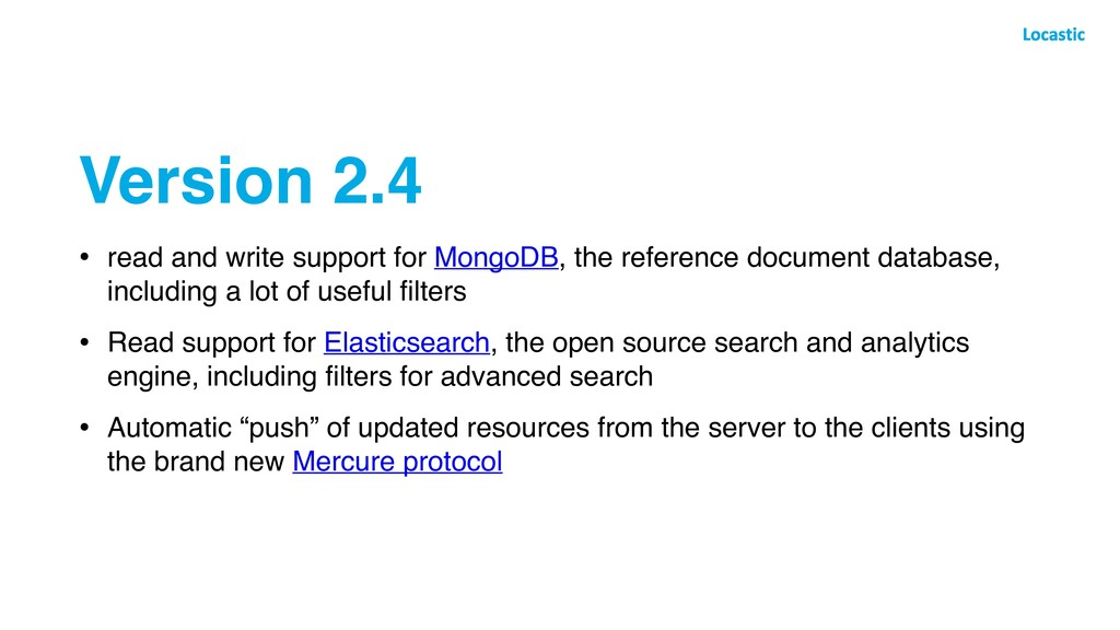 Version 2.4 • read and write support for MongoD...