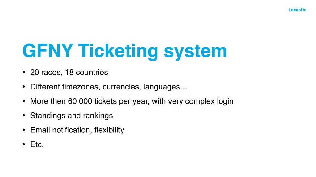 GFNY Ticketing system • 20 races, 18 countries ...