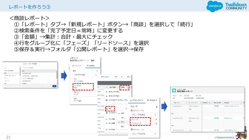 #TERAKOYAFORCE 21 レポートを作ろう③ <商談レポート> ①「レポート」タブ→...