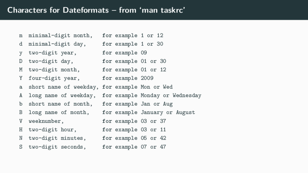 Characters for Dateformats – from 'man taskrc' ...