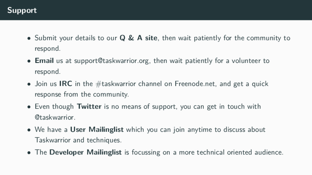 Support • Submit your details to our Q & A site...