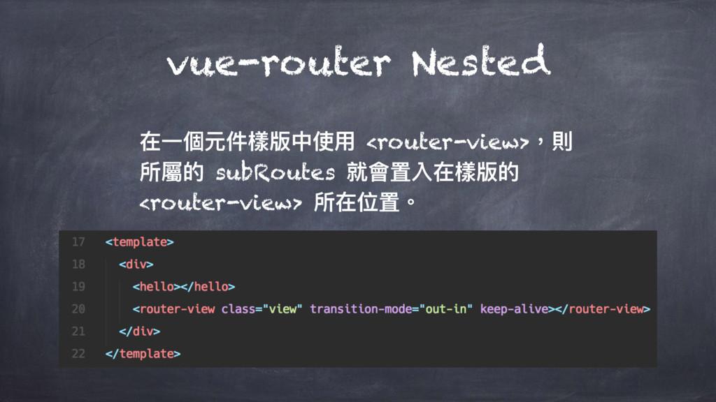 vue-router Nested Ӟ㮆زկ䰬粚Ӿֵአ <router-view>牧㳷 ಅ痀...
