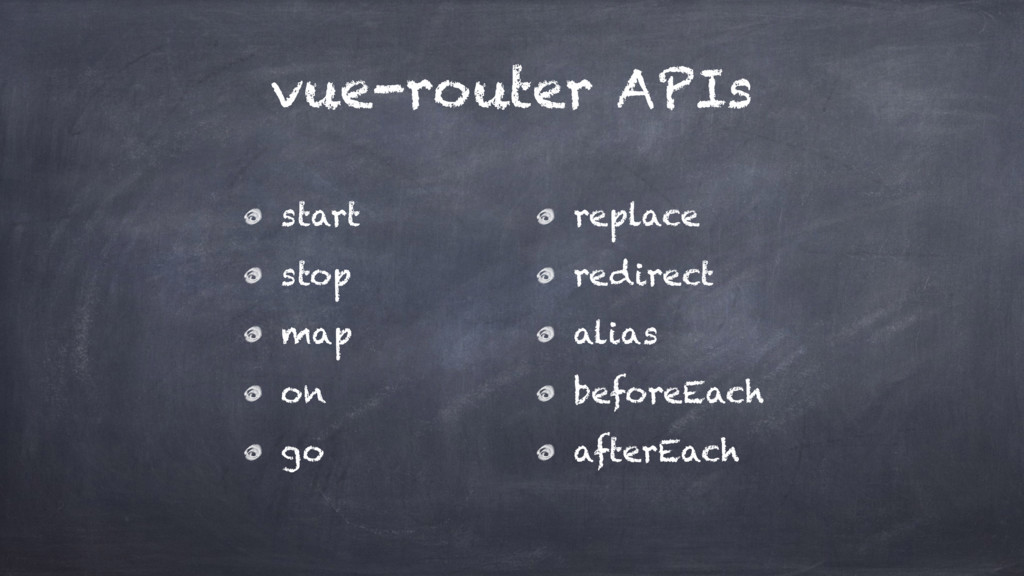 vue-router APIs start stop map on go replace re...