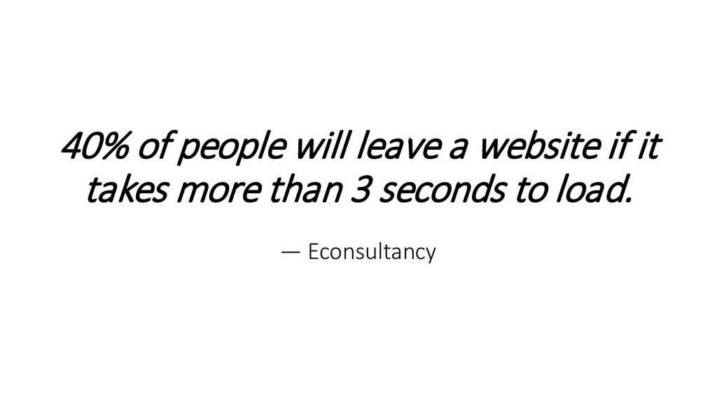 40% of people will leave a website if it takes ...