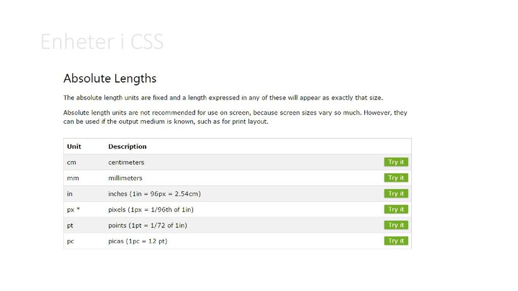 Enheter i CSS