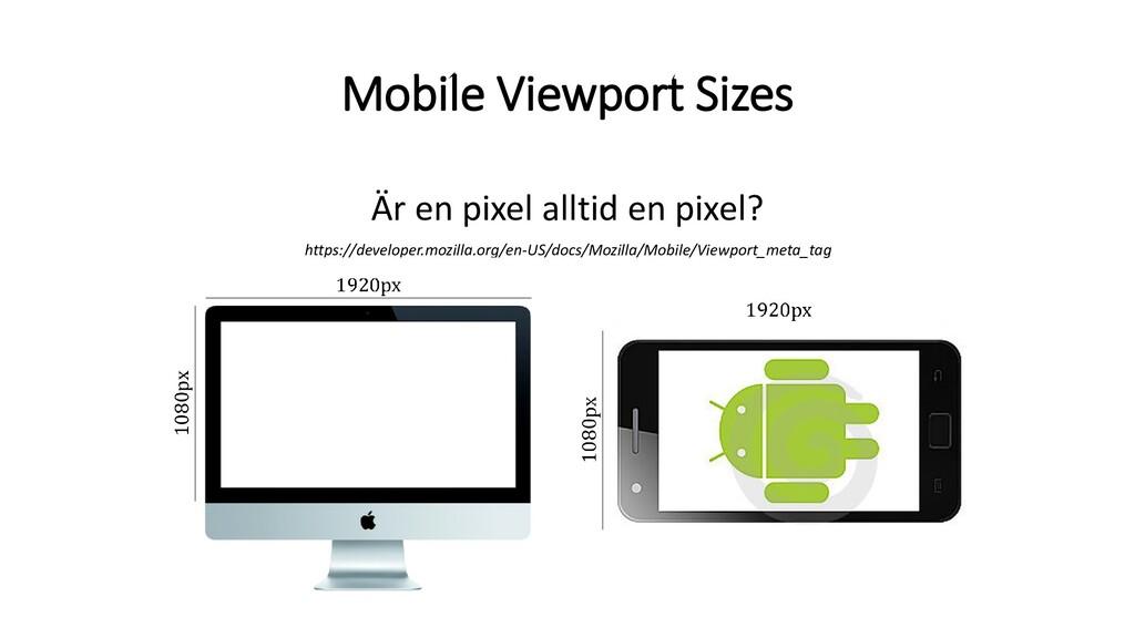 Mobile Viewport Sizes Är en pixel alltid en pix...