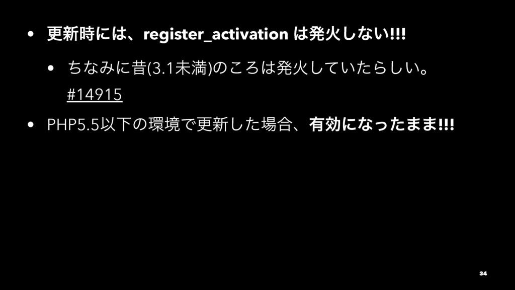 • ߋ৽ʹɺregister_activation ൃՐ͠ͳ͍!!! • ͪͳΈʹੲ(3...