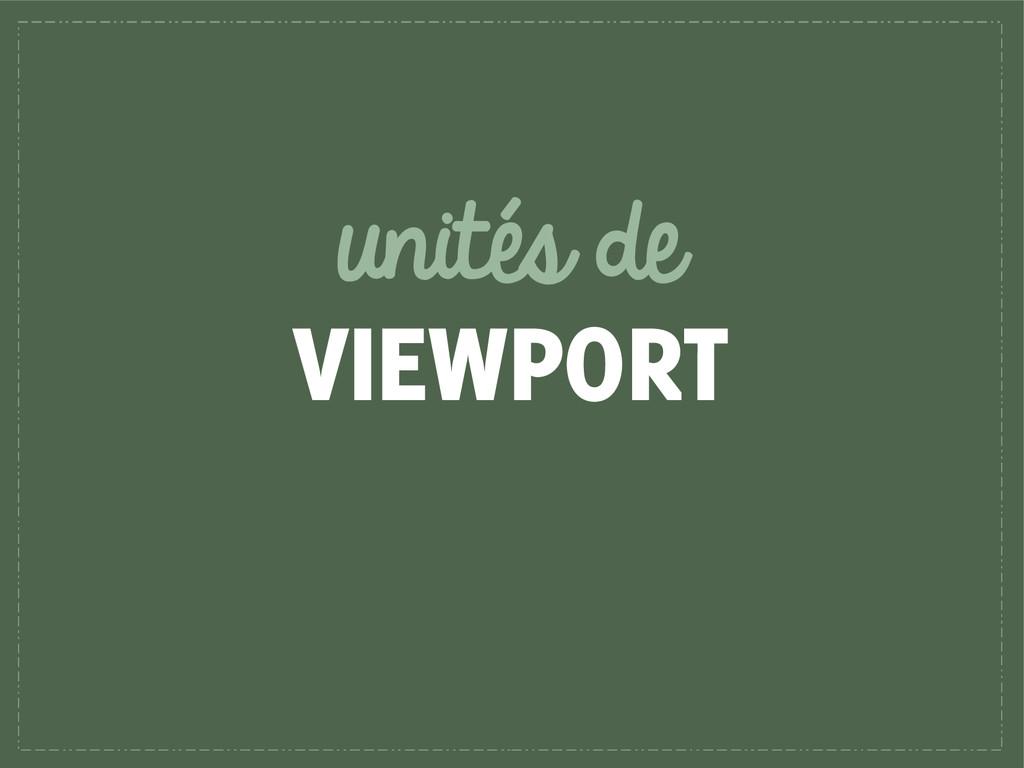 unités de VIEWPORT