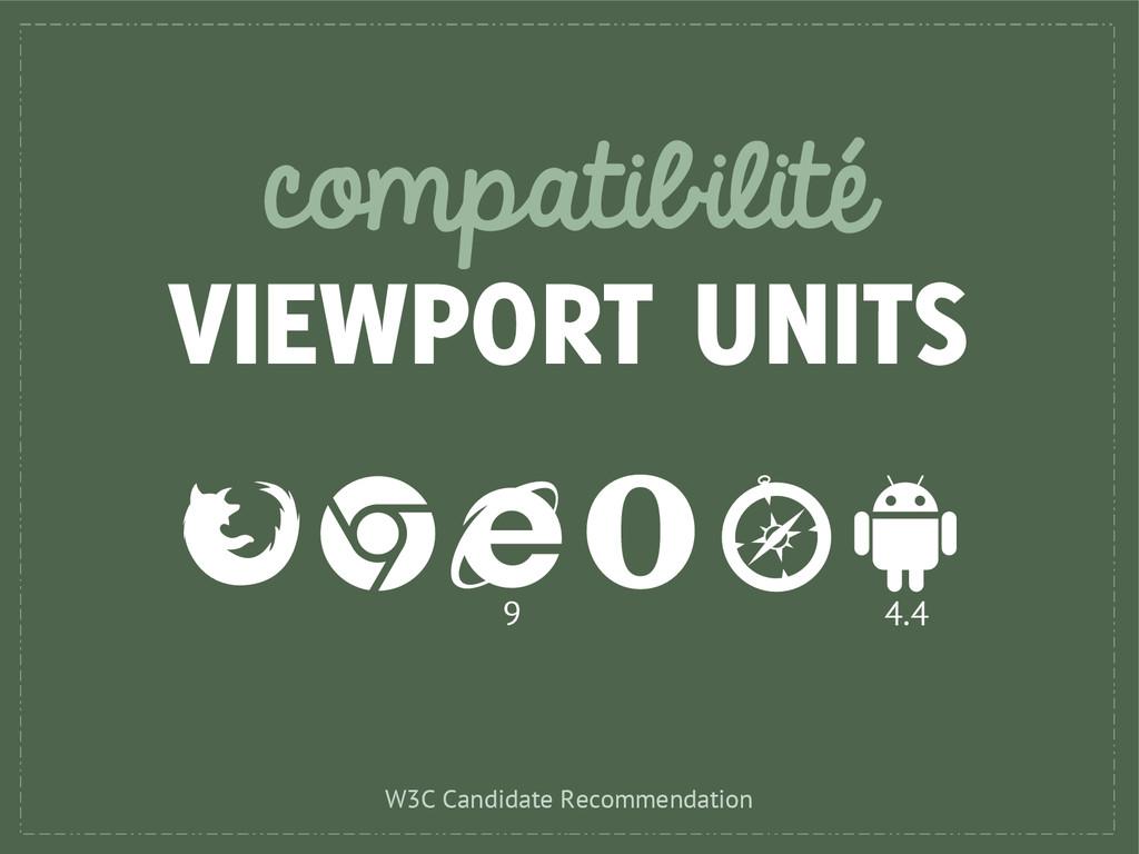 compatibilité VIEWPORT UNITS 9 4.4 W3C Candidat...