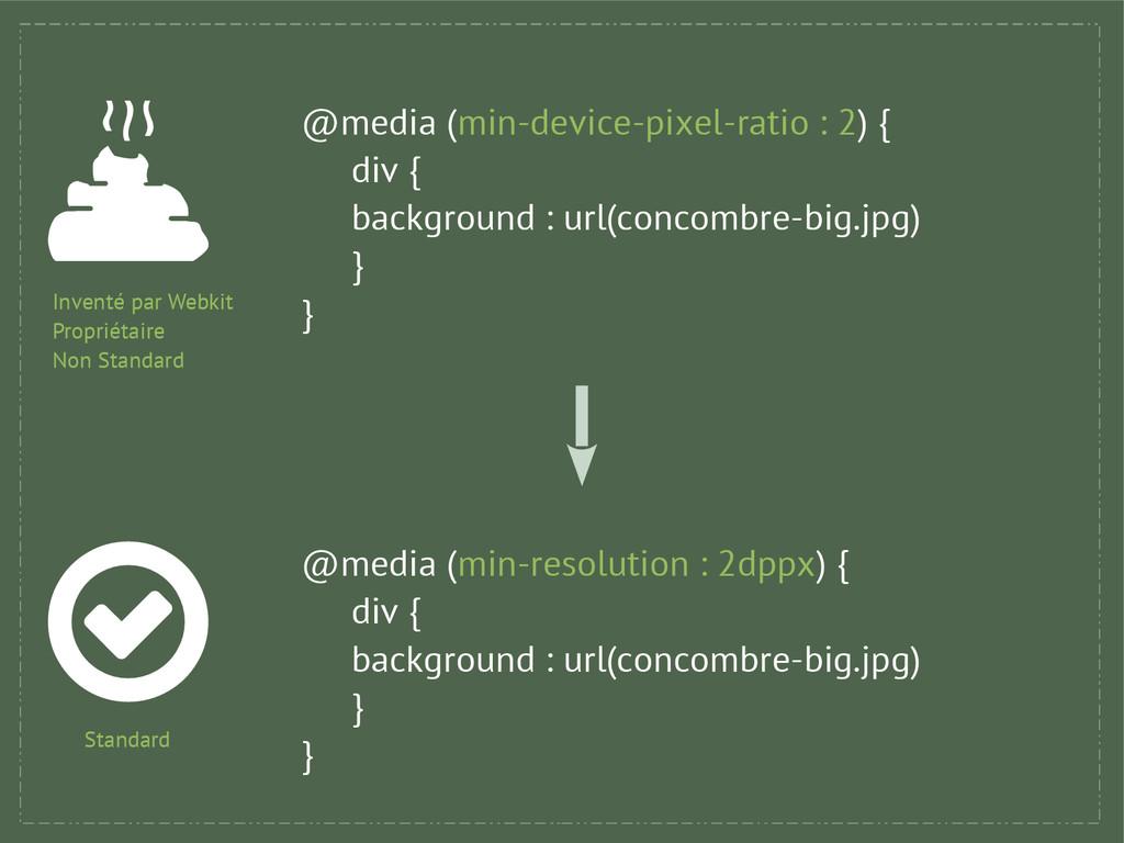 @media (min-resolution : 2dppx) { div { backgro...